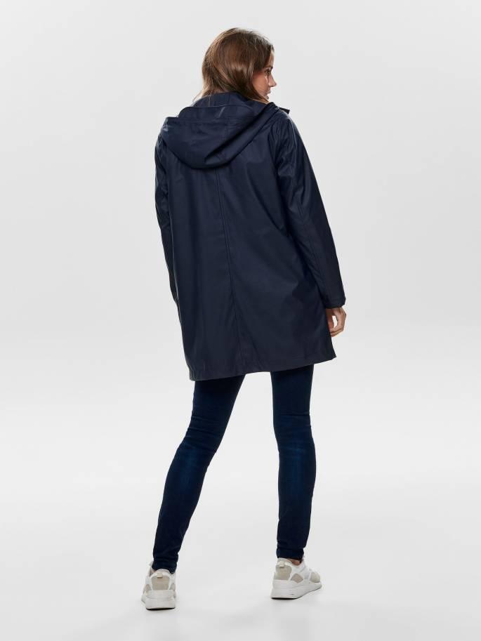 Chubasquero Azul oscuro largo con borrego interior - Only - 15182762 - Uesti