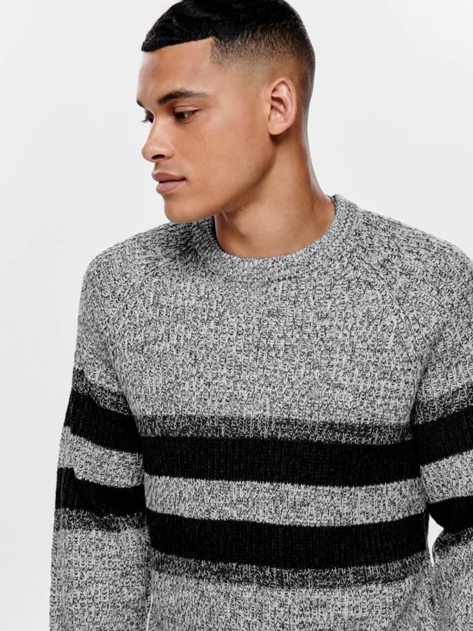 Jersey de punto con rayas en contraste de color blanco - Only and sons - Uesti