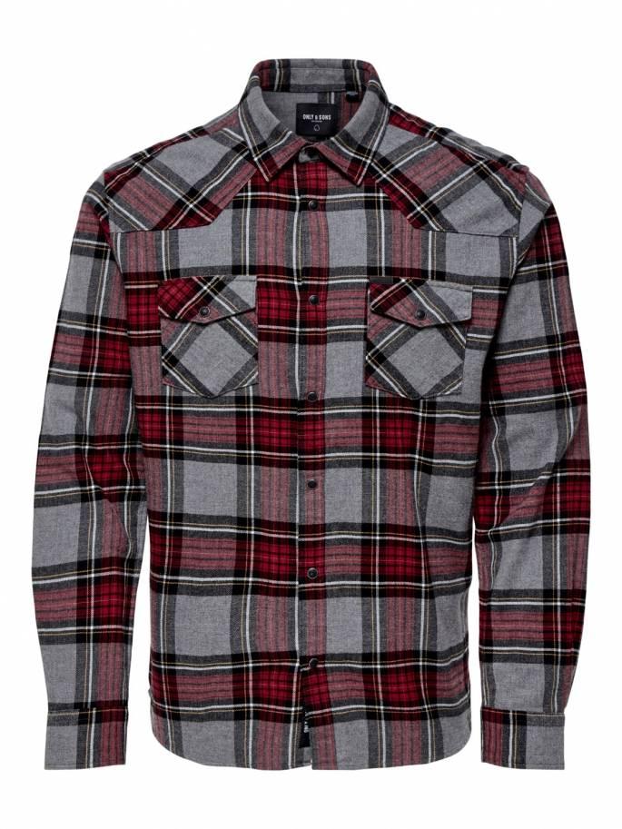 Con estampado de cuadros camisa para hombre - 22014546 - Uesti