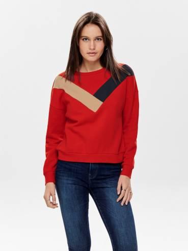 Sudadera básica en color rojo - Only - 15190644 - Uesti