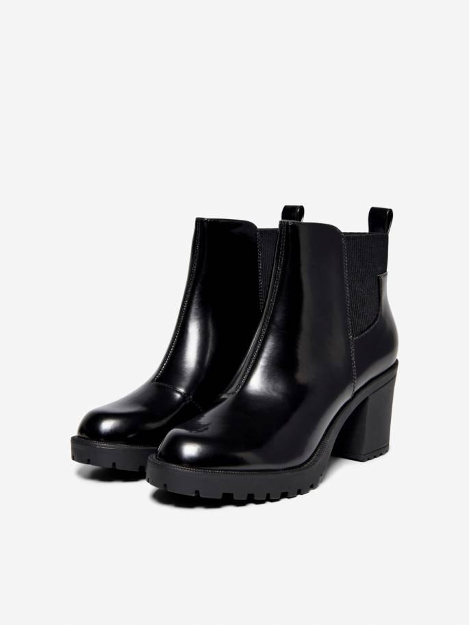Botas negras de tacón alto con bandas elásticas - Only - Uesti