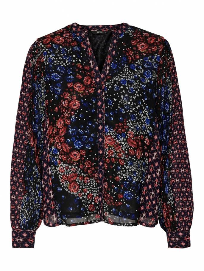 Blusa semitransparente con estampado de flores - Only - 15188339