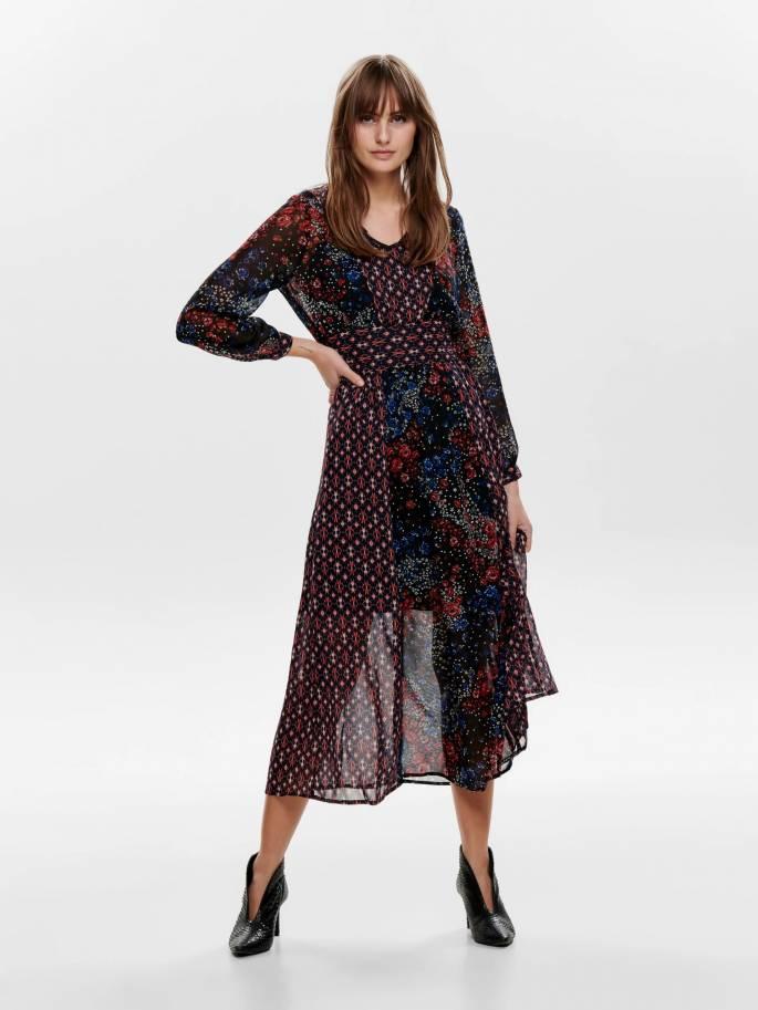 Midi vestido con estampado de flores - only - 15188341 - Uesti
