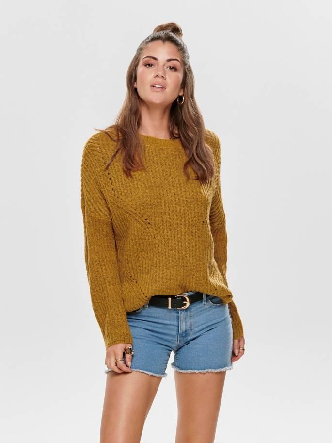 Jersey de punto amarillo y corte holgado - 15139021 - Only