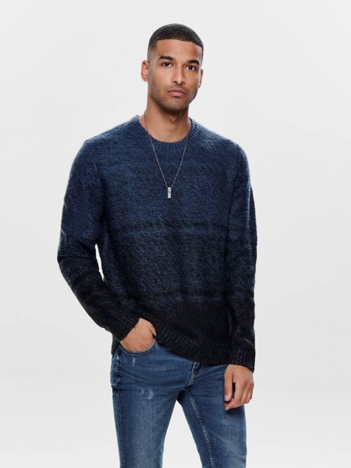 Jersey de punto de invierno color azul - Only and sons - 22014109
