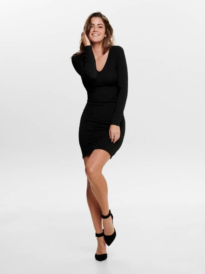 Vestido de fiesta escotado color negro - Only - Uesti