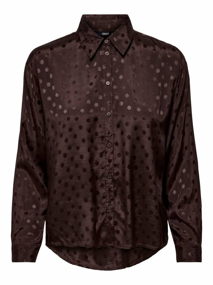 Camisa en color chocolate con estampado de lunares - Only - Uesti