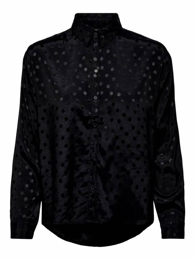 Camisa en color negroe con estampado de lunares - Only - Uesti