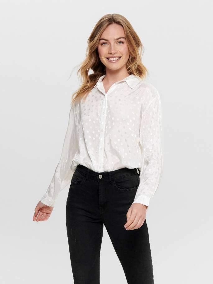Camisa en color blanco con estampado de lunares - 15188343 - Uesti