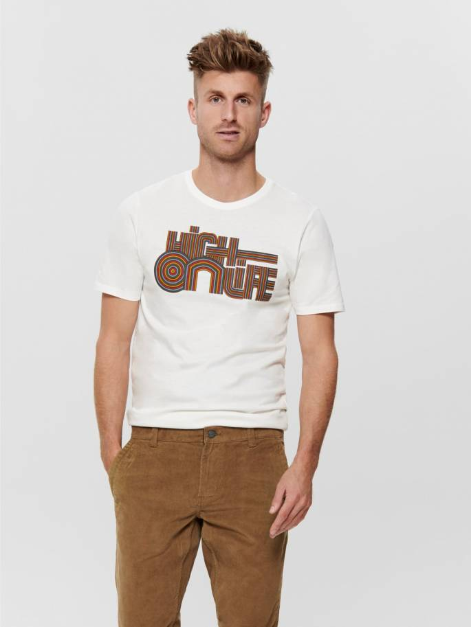 Camiseta blanca con estampado frontal High on life - Only and sons - Uesti