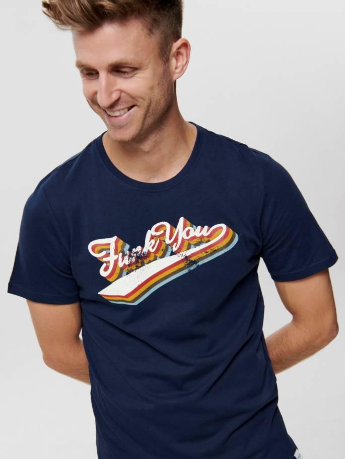 Camiseta azul con estampado frontal Funk you - Only and sons - Uesti