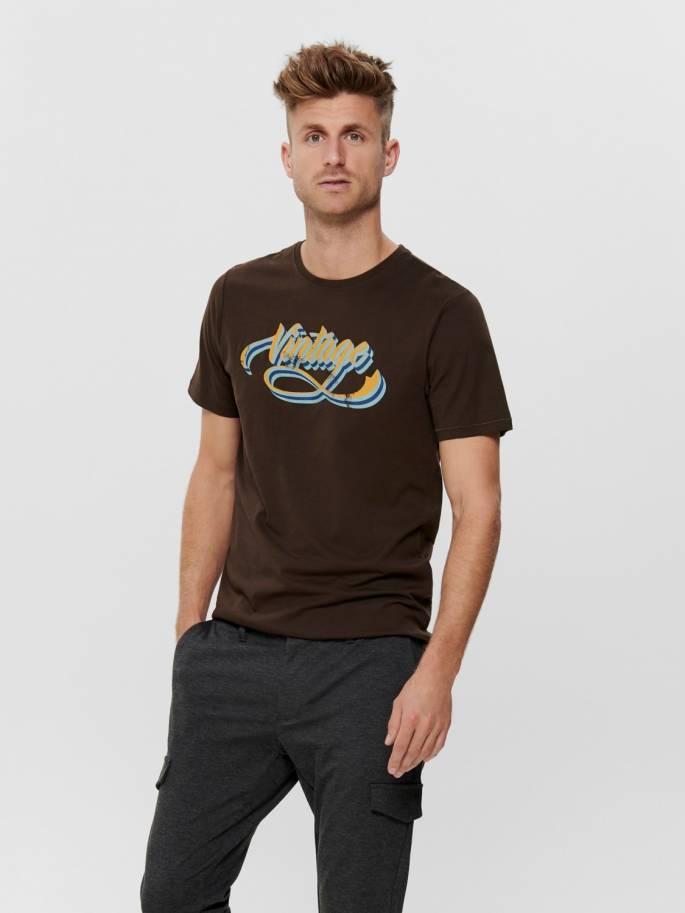 Camiseta marrón con estampado frontal Vintage - Only and sons - Uesti