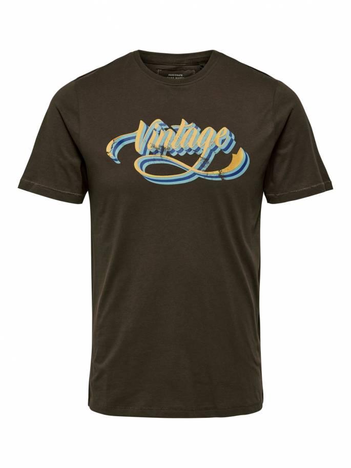 Camiseta marrón con estampado frontal Vintage - 22014356 - Uesti