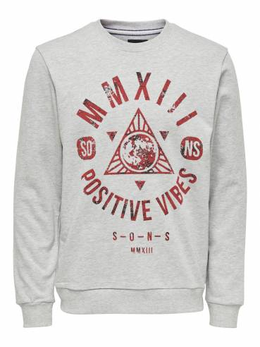 Sudadera gris con estampado frontal positive vibes - Only and sons