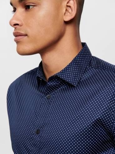 Camisa clásica azul con pequeño estampado - Uesti