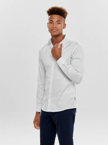 Camisa clásica blanca con pequeño estampado - Only and sons
