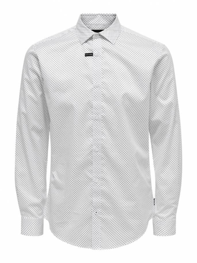 Camisa clásica blanca con pequeño estampado - Uesti