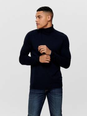 Jersey para hombre de cuello vuelto azul oscuro - Uesti