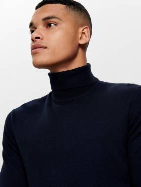 Jersey para hombre de cuello vuelto azul oscuro - Only and sons