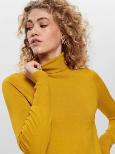 Jersey de punto y cuello vuelto amarillo - Only - 15183772 - Uesti