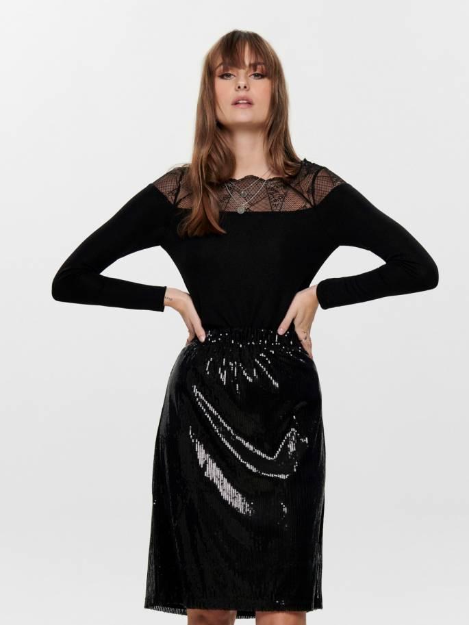 De encaje top negro de mujer - Only - Uesti
