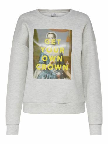 Sudadera con estampado frontal get your own crown - Only