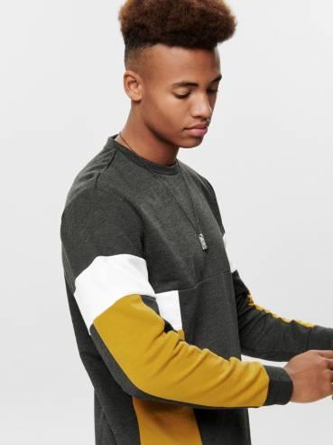 Sudadera chico con varios colores gris blanco y amarillo - Only and sons