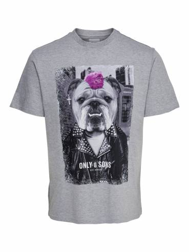 Camiseta con perro bulldog punkie -  Only and sons