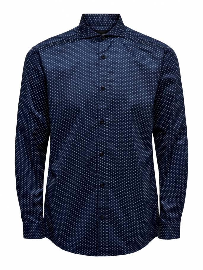Camisa clásica azul con pequeño estampado - Only and sons