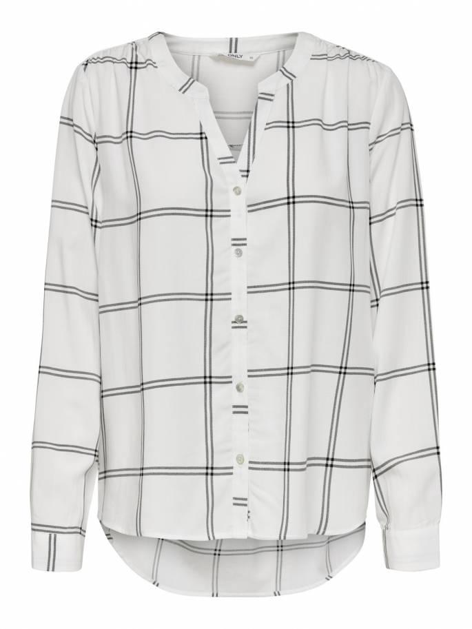 Sugar Camisa blanca de Cuadros y Corte Holgado - Only - 15161698