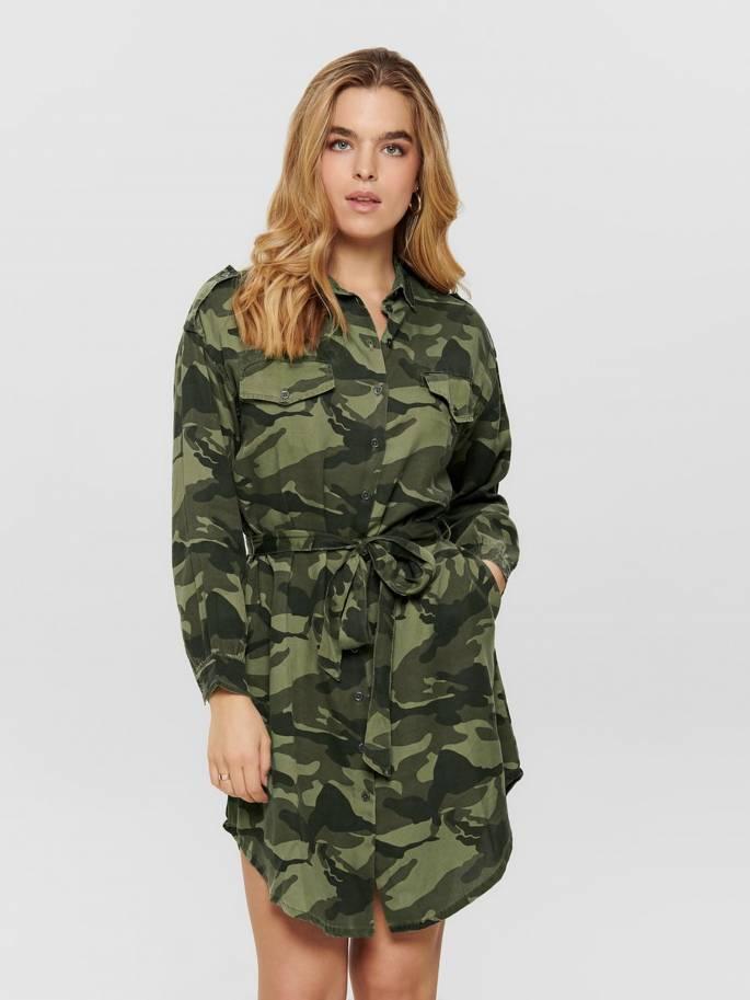 Vestido tipo camisero con estampado militar - Only