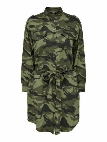 Vestido tipo camisero con estampado militar - Uesti