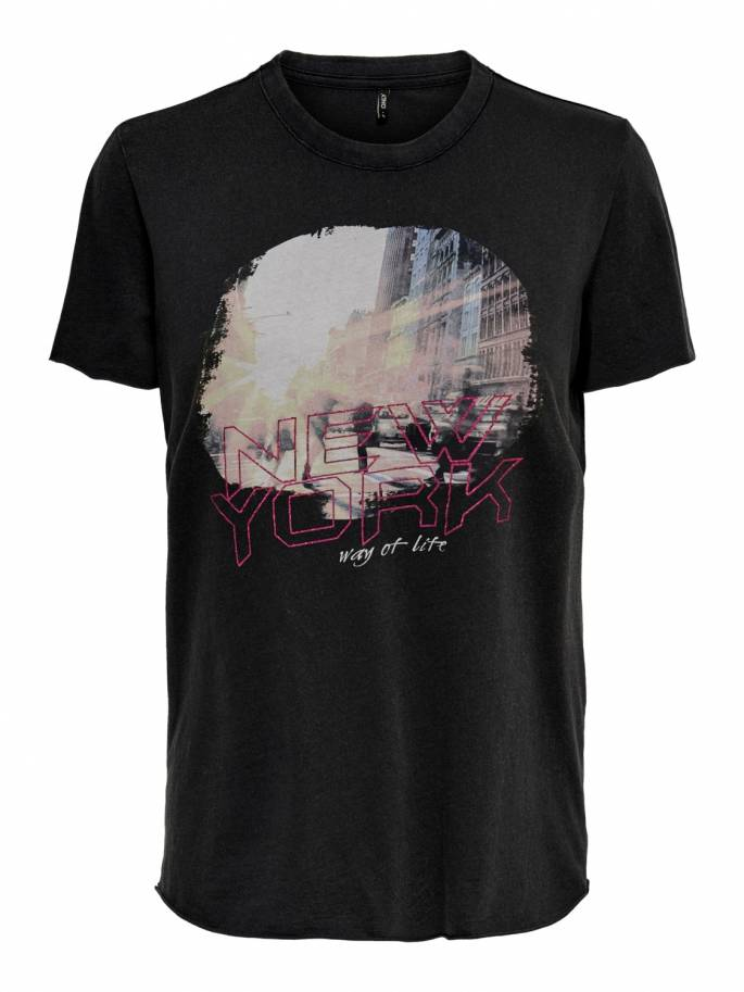 Camiseta con estampado frontal new york - Mujer - Uesti