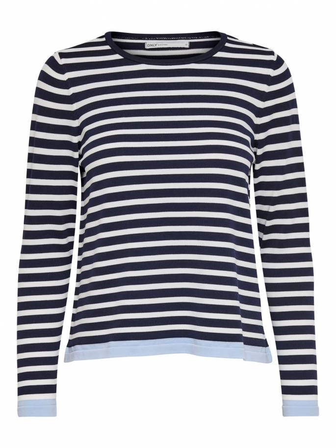 Suzana Jersey de punto de rayas blanco y azul marino - Only - 15150883