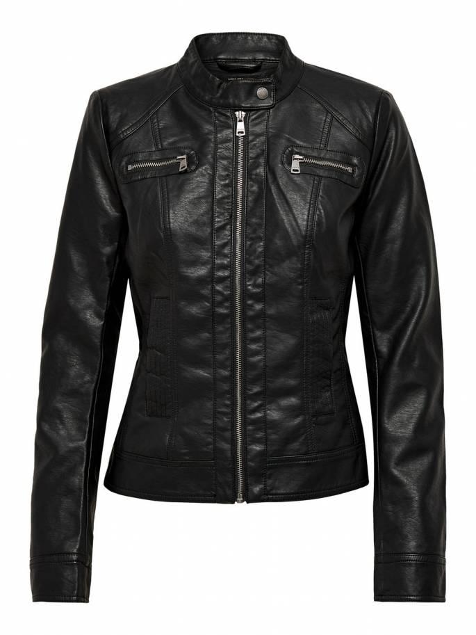 Chaqueta biker de piel sintética negra mujer - 15081400