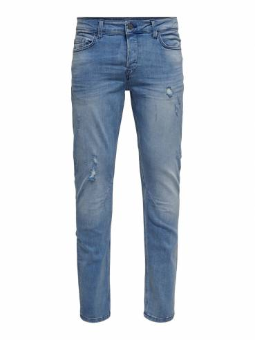 Loom blue jeans slim fit con rotos decorativos - Only&Sons