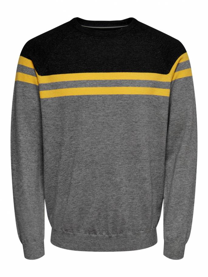 Jersey de punto de rayas en color gris - Only and sons