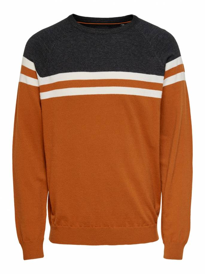 Jersey de punto de rayas en color negro y naranja - Only and sons