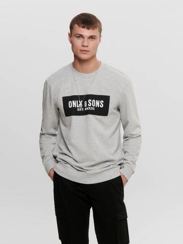 Sudadera gris con estampado de only and sons - 22015616 - Uesti