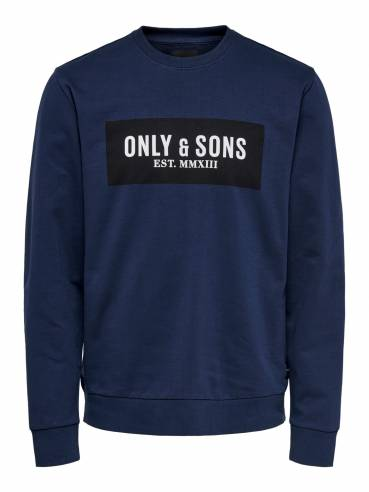 Sudadera azul con estampado de only and sons - 22015616 - Uesti