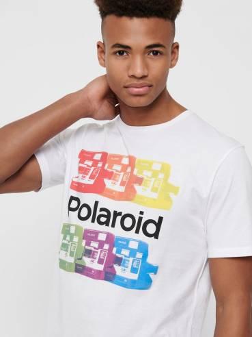 Camiseta blanca con estampado de polaroid - Uesti