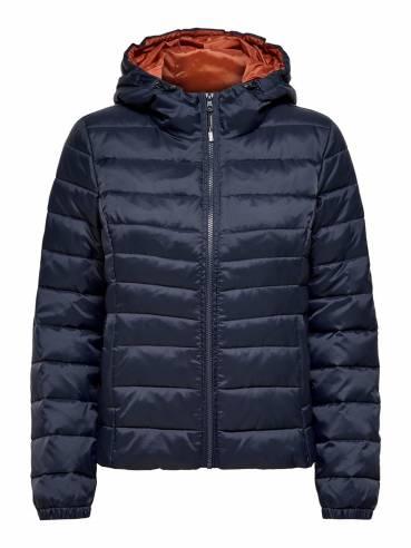 Cazadora acolchada con capucha azul y teja - Uesti