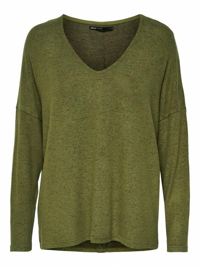 Jersey de punto con botones en la espalda verde - Mujer