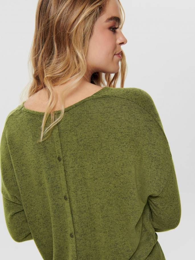 Jersey de punto con botones en la espalda verde - 15192374