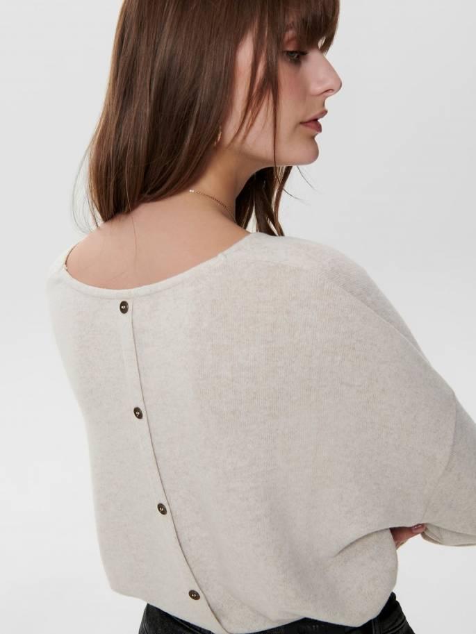 Jersey de punto con botones en la espalda beige - Mujer