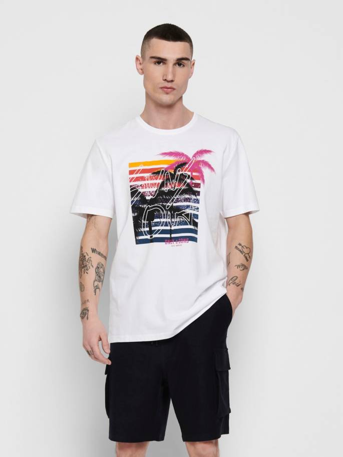 Camiseta gris con estampado de tropical - Hombre - Uesti