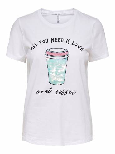 Camiseta con estampado frontal coffee - Mujer - Uesti
