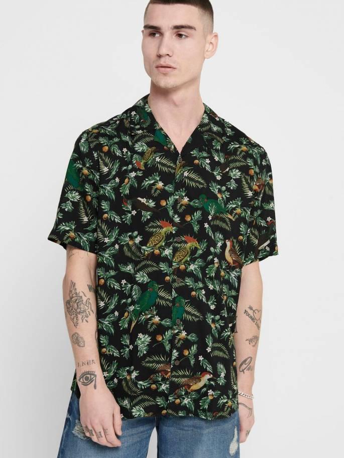 Camisa con estampado de tropical - Hombre- Uesti