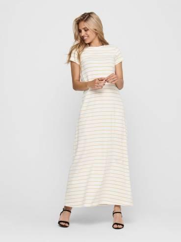 Vestido maxi de manga corta y rayas - Mujer - Uesti