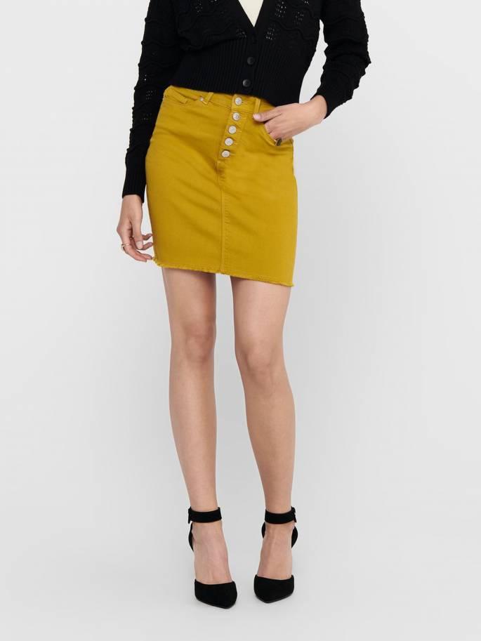 Falda slim vaquera de color amarillo - Mujer - Uesti
